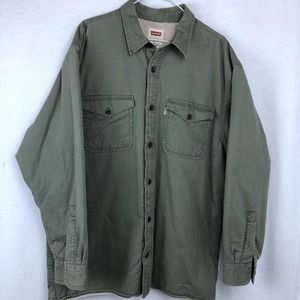 Levi's Fur Lined Army Green Jacket   Large